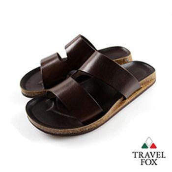 Travel Fox(男)★波羅的海之星 挖背硬牛皮後空拖鞋(咖)