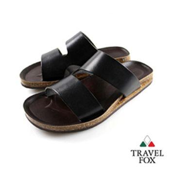 Travel Fox(男)★波羅的海之星挖背硬牛皮後空拖鞋(黑)