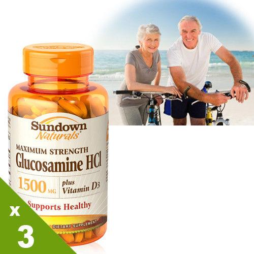 【美國Sundown日落恩賜】倍效葡萄糖胺+D3x3瓶組(60錠/瓶)