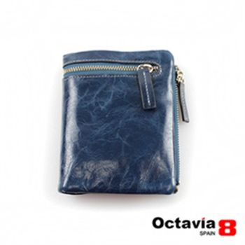 OCTAVIA 8真皮 - 哲學家 二折式油蠟皮短夾 - 憂藍