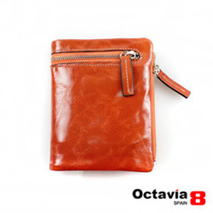 OCTAVIA 8真皮 - 哲學家 二折式油蠟皮短夾 - 思橘
