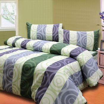 流行線條綠 單人三件式床包被套組台灣製造-任