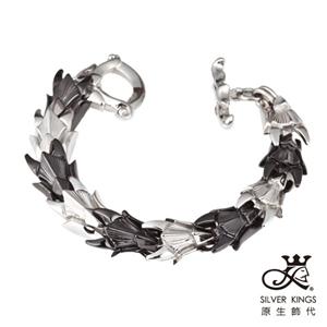 原生飾代SilverKings-黑白龍紋-316L白鋼手鍊