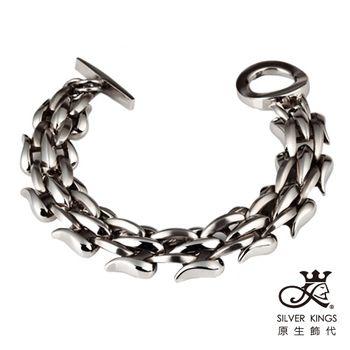 原生飾代SilverKings-銀白龍紋-316L白鋼手鍊