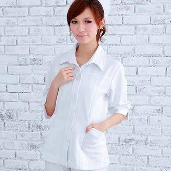 【SHELOVES】護士服立領七分袖上衣(白色)S-XL