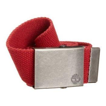 Timberland 2013男休閒款帆布紅色皮帶