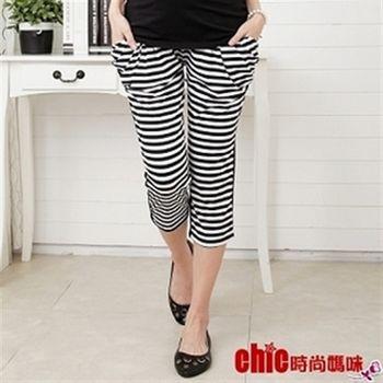 【時尚媽咪】時尚潮流款條紋時尚寬口袋飛鼠褲DW-42104