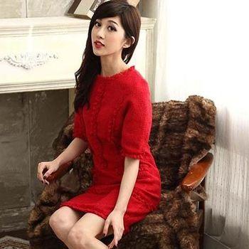 【SHELOVES】絕色抓皺花邊圓領洋裝M-XXL 紅