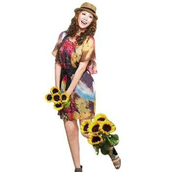 【SHELOVES】魅力流行服飾 彩繪風情艷麗雪紡洋裝 M~XXL