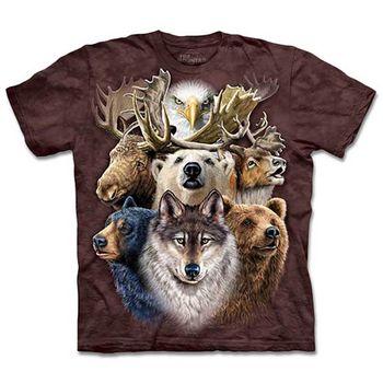 【摩達客】預購-The Mountain北美動物拼貼T恤(女/童)