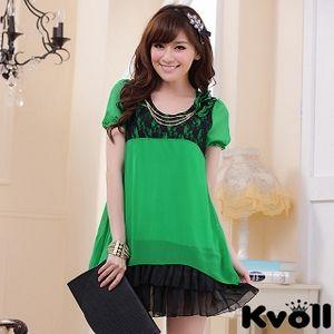 【KVOLL大尺碼】綠色公主袖荷葉裙擺雪紡連衣裙JK-0624