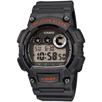 CASIO 靜音振動數位電子腕錶(鐵灰)