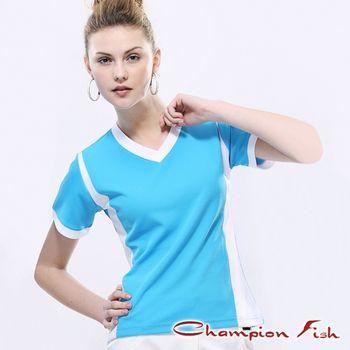 【Champion Fish】女版短袖雙彩排汗T恤-藍/白