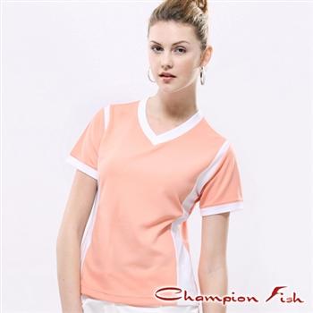 【Champion Fish】女版短袖雙彩排汗T恤-柑/白