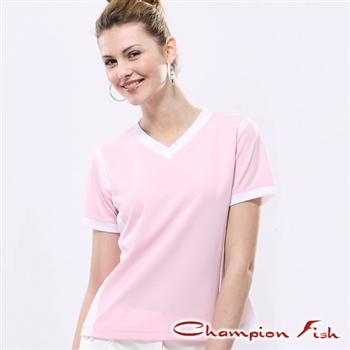 【Champion Fish】女版短袖雙彩排汗T恤-粉/白