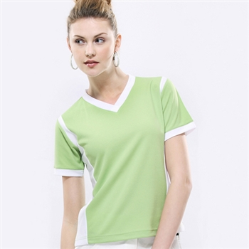 【Champion Fish】女版短袖雙彩排汗T恤-芥末綠/白