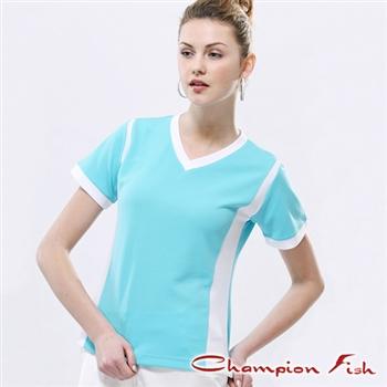 【Champion Fish】女版短袖雙彩排汗T恤-薄荷/白