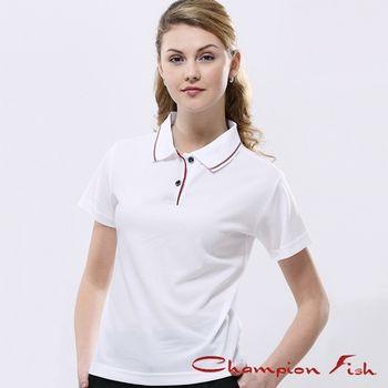 【Champion Fish】女版簡約排汗POLO衫-白色