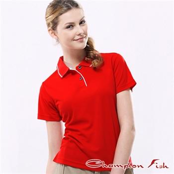 【Champion Fish】女版簡約排汗POLO衫-紅色