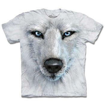 【摩達客】預購3XL-The Mountain 藍眼白狼臉 T恤