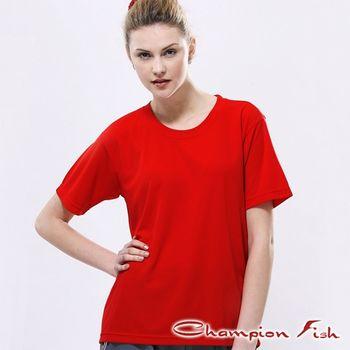 【Champion Fish】中性短袖圓領排汗T恤-紅色