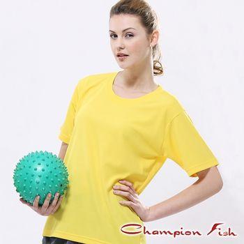 【Champion Fish】中性短袖圓領排汗T恤-松黃色
