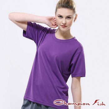 【Champion Fish】中性短袖圓領排汗T恤-紫色