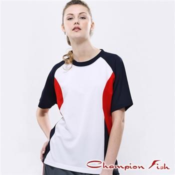 【Champion Fish】中性短袖雙彩排汗T恤-白/丈青/紅
