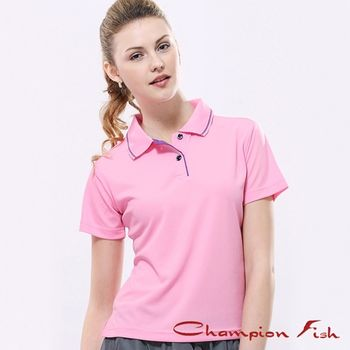 【Champion Fish】女版簡約排汗POLO衫-粉紅