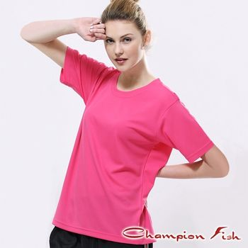 【Champion Fish】中性短袖圓領排汗T恤-桃紅色