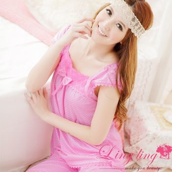【lingling】玫瑰方領圓點二件式睡衣組(甜心粉)A867