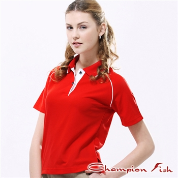 【Champion Fish】女版經典排汗POLO衫-紅色