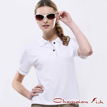 【Champion Fish】女版學院風短袖POLO衫-白色