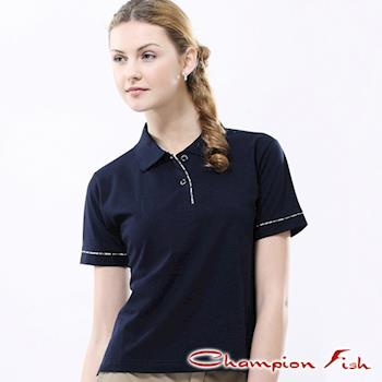 【Champion Fish】女版學院風短袖POLO衫-丈青