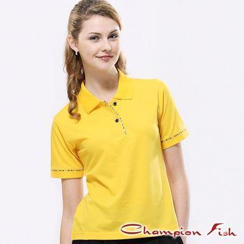 【Champion Fish】女版學院風短袖POLO衫-黃色