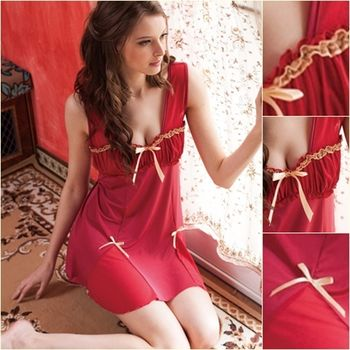 【皮爾卡登】酒紅甜美絲質睡衣