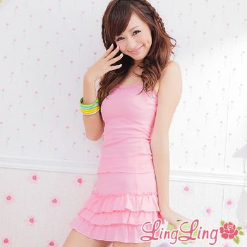 【lingling】有罩式背心+蛋糕裙休閒睡衣組(浪漫粉)Q311