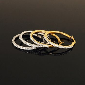 Sarlisi 簡潔晶鑽圈圈西德鋼耳環
