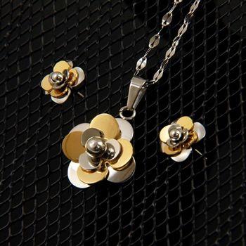 Sarlisi知性溫婉立體花朵墬飾耳環套組
