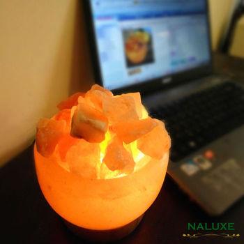 【Naluxe】義大利設計水晶鹽燈-精巧聚寶盆