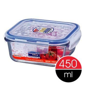 【樂扣樂扣】微波加熱方型玻璃保鮮盒450ml-任