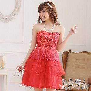 【白色戀人中大尺碼】紅色復古修身顯瘦平口蛋糕小禮服JK-0219