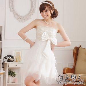 【白色戀人中大尺碼】白色復古手工繡花不規則小禮服JK- 0217