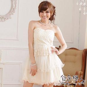 【白色戀人中大尺碼】白色復古修身顯瘦平口蛋糕小禮服JK-0219