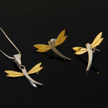 Sarlisi 漫舞蜻蜓西德鋼墬飾耳環套組