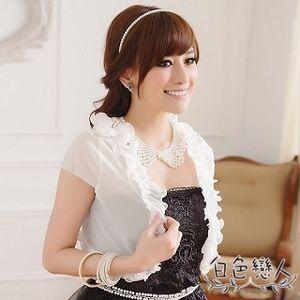 【白色戀人中大尺碼】白色婚宴禮服百搭木耳邊披肩小外套JK-0415