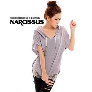 [NARCISSUS] 天絲棉斗篷連帽短袖彈性T-shirt 淺灰