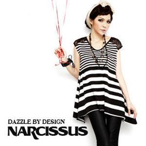 [NARCISSUS] 天絲棉蕾絲拼接條紋傘狀長版上衣 黑/白條紋
