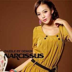 [ NARCISSUS ] 泡泡袖方領長版束腰綁帶上衣 芥末黃
