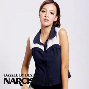 [NARCISSUS] 雪紡雙色拼接馬甲無袖襯衫 純白/丈青